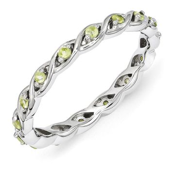 2.5mm Rhodium Plated Sterling Silver Stackable Peridot Twist Band