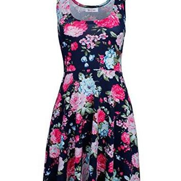 Ware Women's Casual Dress Fit and Flare Floral Sleeveless Dress