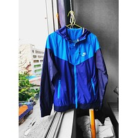 NIKE Tide brand men and women woven sports casual breathable hooded jacket Blue