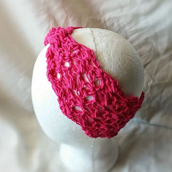 Fuchsia head band Pink twist turban Yoga head band Cotton crochet hair tie Ladies head wrap Boho hippie style accessory