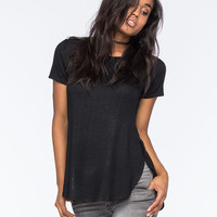 Love Fire Hachi Shirttail Womens Tee Black  In Sizes