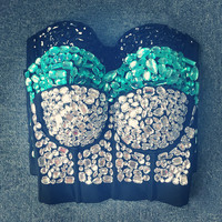 Original Hand-made Pearls Jewel Diamond Night Club Spandex Bralet Women's Bustier Bra Cropped Top Vest Plus Size