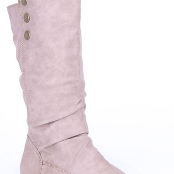 Soft Pull On Calf Boots-Taupe-UK 8 - EU 41