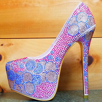 Alba Yang 24 Sparkling Multi Color Rhinestone Platform Pump Nude Sizes 7.5 & 9