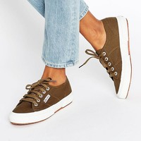 Superga Classic Plimsoll Trainers In Khaki