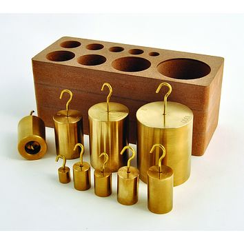 Hooked Weight Set of 9, Brass