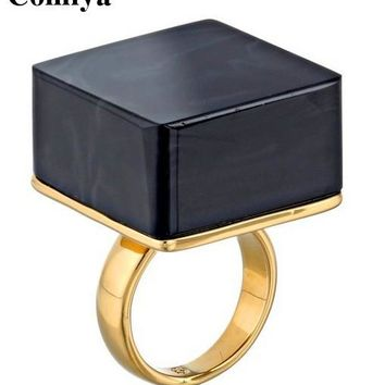 Ufashional Gold color Black Square acrylic 2017 Wedding punk Band Ring big rings for women bijoux punk rock brand jewelry