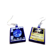 Hyper Sonic the Hedgehog Pokemon Card Earrings, 2 Sided, Gamer Jewelry, Glass Beads, Silver or Gold Earrings.