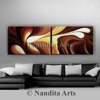 """Oil Painting Original Abstract Art on Canvas, 72"""" Large Painting Wall Art Chocolate Swirl Wave Brown Luxury Style Modern Art Beautiful Gifts"""
