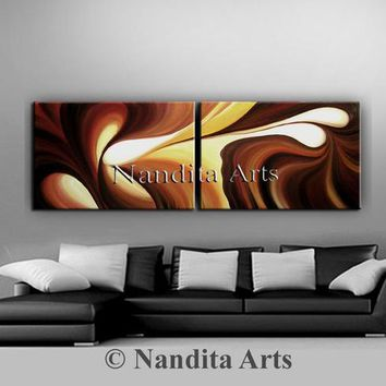 "Oil Painting Original Abstract Art on Canvas, 72"" Large Painting Wall Art Chocolate Swirl Wave Brown Luxury Style Modern Art Beautiful Gifts"