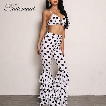 NATTEMAID Sleeveless Black Polka Dot 2 Piece Set Women Casual Two Piece Set Crop Top And Flare Pants Backless Sexy Two Piece