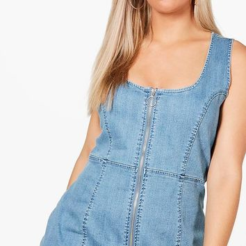 Plus Georgie Zip Front Denim Bodycon Dress | Boohoo