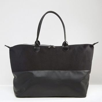 Mi-Pac Canvas & Tumbled Faux Leather Contrast Weekender at asos.com