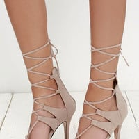 Tip-Topper Nude Suede Lace-Up Heels
