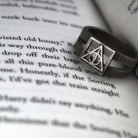 Deathly Hallows Symbol Ring Size 5 1/2 by FanaticAlley on Etsy