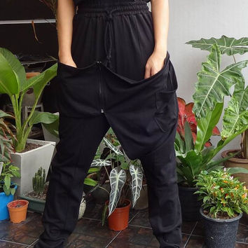25% OFF Black - Ninja Pants, High Fashion Gaucho, Unisex Trousers , in Cotton Jersey.