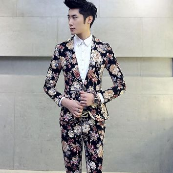 2018 Fancy Mens Suits Costume Homme Taille 5XL Ternos Masculinos Slim Fit Vintage Floral Mens Suits Flowers Printed Blazers Men