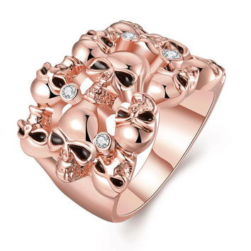 Rose Gold Plated Multi Floral Orchid Ring