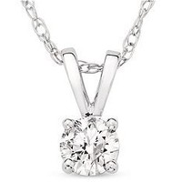 1/4 Carat Diamond Solitaire 14K White Gold Pendant w/ Chain