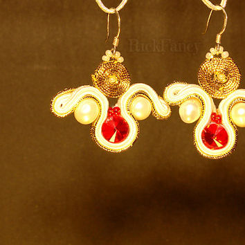 Handcrafted earrings, soutache jewelry, soutache earrings, swarovski earrings, red white gold color, sterling silver earring hook