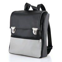 Handmade Designer Black & Gray Student Laptop Backpack, Made from Waterproof Vegan Faux Leather with Many Pockets. Retro Style.