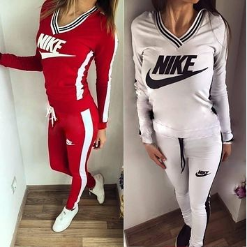 Fashion Online Nike High Quality Print V-neck Sweatshirt Sweater Pants Sweatpants Set Two-piece Sportswear