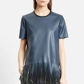 Women's Cedric Charlier Fringe Faux Leather Top,