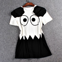 Big Eyes Printed Casual Mini Dress