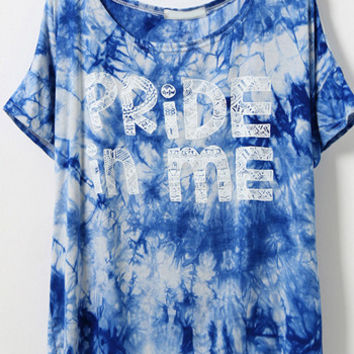 PRIDE IN ME Graphic Print Blue Tie Dye Shirt