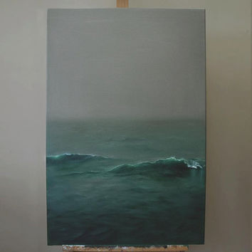 Overcast - moody grey minimalist seascape - original oil painting