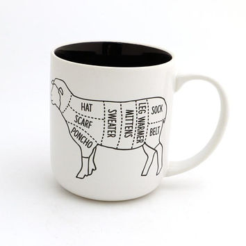 Sheep parts mug, gift for knitter, crochet and knitting gifts, gift for maker, can be personalized, custom mug for maker