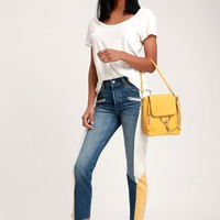 501 Original Medium Wash Color Block Cropped Jeans