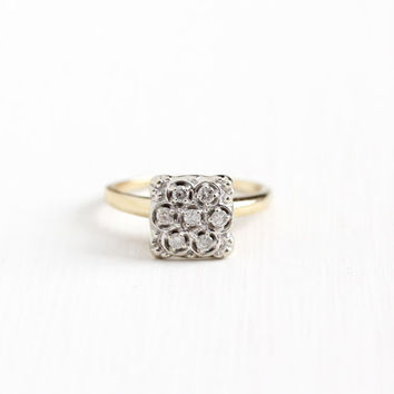 Vintage 10K White & Yellow Gold Diamond Cluster Ring - Size 7 3/4 1950s Mid Century Fine Flower Motif Engagement Bridal Statement Jewelry