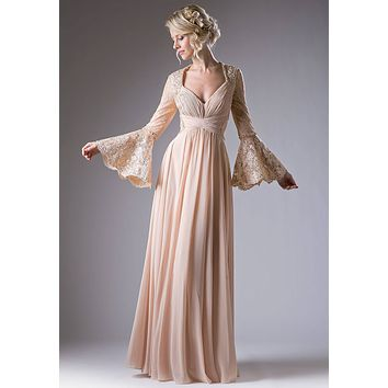 Ruched Bodice Long Formal Dress Lace Trumpet Sleeves Champagne