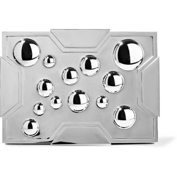 Lee Savage - Space Bubbles gunmetal-tone box clutch
