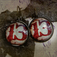 Earrings  -  13 - Lucky Number - Lucky Year 2013 - Blood Red 13 on 20mm Earrings