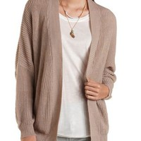Dropped Shoulder Open Front Cardigan by Charlotte Russe - Taupe Combo
