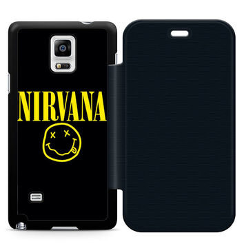 Nirvana Leather Wallet Flip Case Samsung Galaxy Note 4