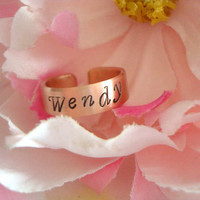 """Small Size Hand Stamped With The Name Of Your Choice 1/4"""" Ring Made To Order Customized Personalized Size 8 To 10"""