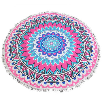 Fringed Jumbo Round Cotton Beach Towel with Tassels - Indian Mandala Pink Blue