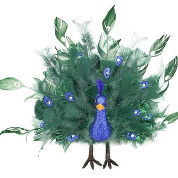"14"" Colorful Green Regal Peacock Bird with Open Tail Feathers Christmas Decoration"