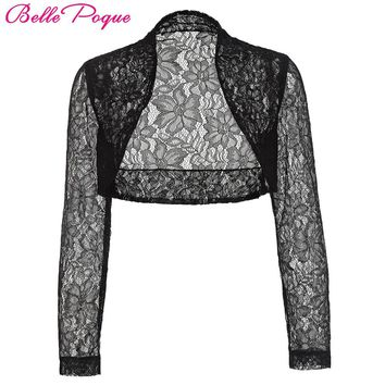 Belle Poque Autumn Jacket Womens Ladies Long Sleeve Cropped Shrug Black White Coat 2017 New Fashion Lace Bolero Plus Size Shrug