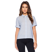 Blue Loose Button-up Polo with Long Back