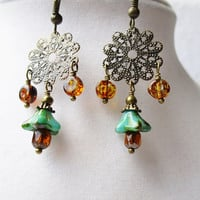 Teal Czech Glass Flower & Amber Glass Dangly Bronze Filigree Earrings, Boho Chic
