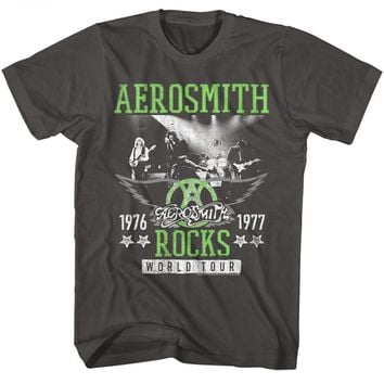 Aerosmith T-Shirt '76 '77 Rocks World Tour Smoke Tee