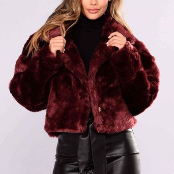 LMFON Don't Remind Me Faux Fur Jacket - Burgundy Day-First?
