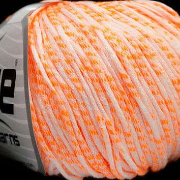 Ice Yarn Neon Tube White Neon Orange 50g UK