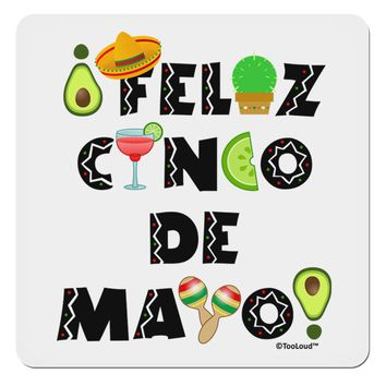 "Feliz Cinco de Mayo - Fiesta Icons 4x4"" Square Sticker by TooLoud"