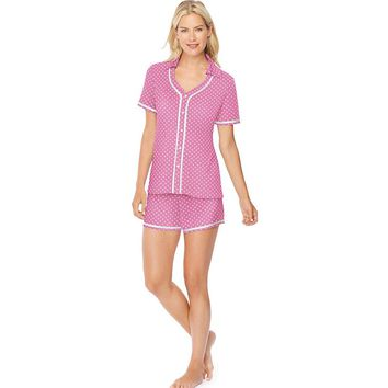 Hanes Ultimate Women's Button Top/Shorts Sleep Set