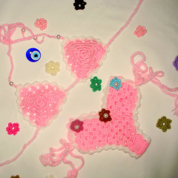 Crochet Bikinis Set ,Bikinis Sets Baby ,Lace Bikinis , Swimsuits Children Bikinis Sets Baby ,Pink Bikinis, Crochet Baby, Children Swimsuits
